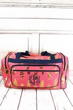 Metallic Gold Fancy Feathers Coral Pink Duffle Bag 23