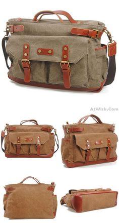 Retro Large Capacity Travel Handbag Thick Canvas Splicing Leather Belt Laptop Shoulder Bag for big sale ! #leather #laptop #handbag #bag #canvas #thick #retro