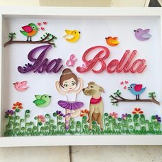 Quadro encomendado para as irmãs #isa e #bella 👸🏻🐶 A Isa é uma bebê que esta para chegar e a Bella é sua irmã mais velha de 4 patas! ❤️❤️❤️❤️Coisa mais linda, amo animais e admiro tds que demonstram esse grande amor por eles! 🚨 AGENDA FECHADA. AS ENCOMENDAS VOLTAM  A PARTIR DE FEVEREIRO DE 2017! Mais infos e valores: 💌momoquilling@gmail.com 🙏🏻❤️🙏🏻#quadrodecorativo #quadromaternidade #portamaternidade #quartobebê #paperquilling #quilling #paperart #handmade #momoquilling #quilledname…