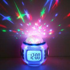 Sky Bintang Anak Kamar Bayi Malam Cahaya Lampu Proyektor Bedroom Alarm Musik Jam HXP001