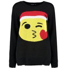 Boohoo Scarlett Kiss Emoji Christmas Jumper | Boohoo ($26) ❤ liked on Polyvore featuring tops, sweaters, xmas sweaters and christmas sweaters