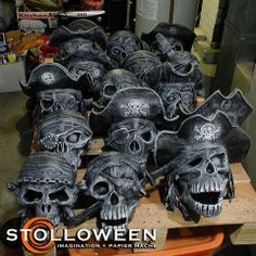 A few months ago I was asked for some more information regarding the way that I created the papier mache pirate skulls . Pirate Halloween Decorations, Pirate Halloween Party, Pirate Decor, Halloween Skeletons, Halloween Projects, Diy Halloween Decorations, Spooky Halloween, Holidays Halloween, Halloween Themes