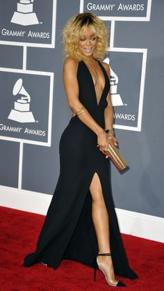 Rihanna wears Armani and Neil Lane jewelry on the red carpet of the 2012 Grammy Awards.