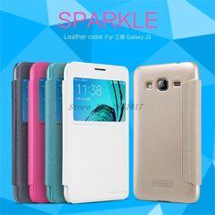 sFor Samsung Galaxy J3 Flip Case NILLKIN Sparkle Series PU Leather Cover Case For Samsung Galaxy J3 Phone Cases
