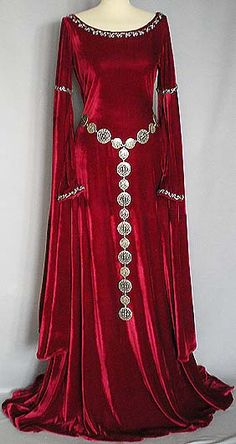 Camelot - Medieval Gown in a deep, shimmering burgundy velvet. Lots of other awesome medieval style dresses on that site!