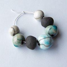 Raku beads bead set made in South Africa by EarthbutterStudio, $13.00