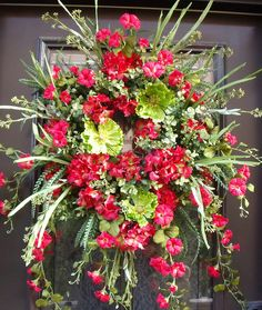 Red Wreaths, Spring Wreath, Summer Door Wreaths, Hydrangea Wreath, Red and Lime