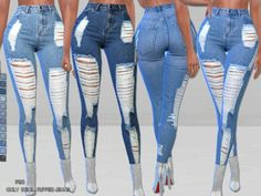 The Sims 4 Only-Denim Ripped Jeans Ripped Jeggings, Ripped Jeans Outfit, Ripped Skinny Jeans, Superenge Jeans, Cute Jeans, High Jeans, Mom Jeans, Crop Top Outfits, Jean Outfits