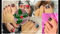 5 Festive Toenail Art Design Ideas | Christmas Pedicure Compilation ♥ Toe Nail Art, Toe Nails, Toenail Art Designs, New Year's Nails, Pedicure, Festive, Design Ideas, Christmas, Winter