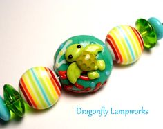 Sea Turtle themed lampwork glass bead set by Heather Sellers.