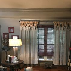 White linen and burlap ruffles curtains - wide ruched tabs - Tea dyed rosette Linen Curtains, Rustic Curtains, Curtains, Curtain Decor, Burlap Curtains, Green Curtains, Beige Curtains, Ruffle Curtains, Lace Curtains