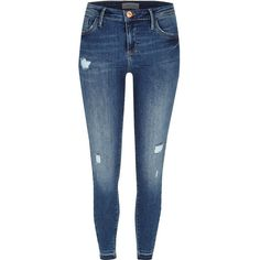 River Island Dark wash twist seam Amelie superskinny jeans ($62) ❤ liked on Polyvore featuring jeans, skinny jeans, women, zipper skinny jeans, destructed skinny jeans, distressed jeans and ripped skinny jeans
