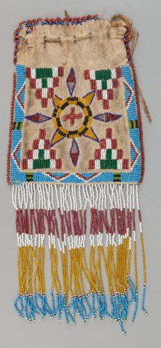 APACHE BEADED HIDE DRAWSTRING POUCH...