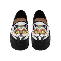Sugar Skull Cat Black Selene Deep Mouth Women Shoes (Model 311) ($90) ❤ liked on Polyvore featuring shoes, cat footwear, skull print shoes, cat print shoes, black skull shoes and kohl shoes