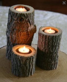 Set of 3 - Tree Branch Candle Holders - Wood Candle Holder for Wedding, Center Piece, Rustic Decor. via Etsy. Cute for a porch Wood Candle Holders, Candle Set, Votive Holder, Bougie Candle, Tree Stump Table, Deco Design, Deco Table, Decoration Table, Tree Branches