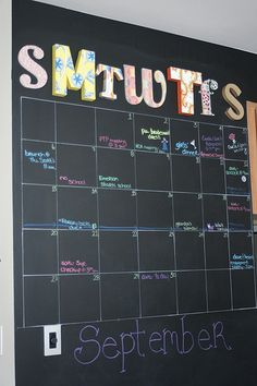 love this, chalkboard paint a wall and make a giant calendar...or you can do  small area.