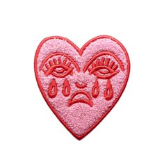 Crying Heart Chenille Patch Embroidered Harley Quinn Onesie Pink & Red Fluffy Valentines Tattoo Design Patch Bert Grimm Iron On Badge