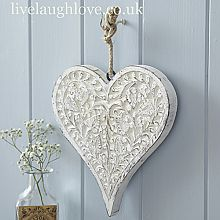 Finely Carved Large Hanging Heart Decoration