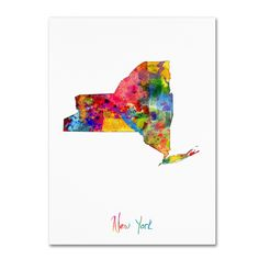 New York Map by Michael Tompsett Graphic Art on Wrapped Canvas