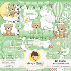 Kit digital Bear Baby Dark Green Já à venda na loja >>goo.gl/R7Kp4k