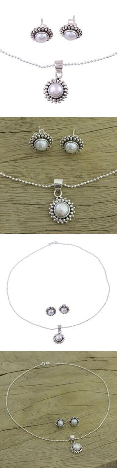 Sets 34071: Pearl Jewelry Set Sterling Silver Necklace Earrings Perfection Novica India -> BUY IT NOW ONLY: $75.49 on eBay!
