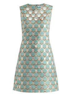 Diane von Furstenberg green metallic spring dress