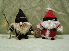 These 2 little gnomes stand 6 inches high and instructions for both come in the one pattern. Knitted in the flat on 3mm needles, they are made using mainly DK with small amounts of fun fur or eyelash. Easy and quick to knit with no complicated stitches.Great for stocking presents or charity knits.
