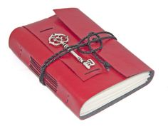 Red Vegan Faux Leather Journal with Key Bookmark - Ready To Ship -