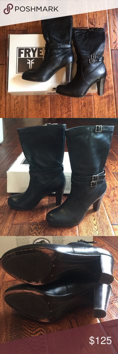 Frye Miranda slouch boots Worn less than 5 times! These are a great midi boot with great detail and highest quality Frye leather! Frye Shoes