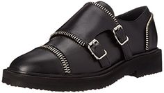 Giuseppe Zanotti Womens Double Buckle Ballet Flat Opium Nero 9 M US * Details can be found by clicking on the image.