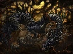 """Níðhöggr is a serpent from Norse mythology. A terrible beast, it is known for gnawing on the roots of Yggdrasil, the world tree. Its name comes from the Norse term """"níð,"""" a social stigma around a loss of honour or a turn to villainy. Thor, Loki, Norse Pagan, Old Norse, Norse Mythology, Dragons, Viking Dragon, Viking Art, Vegvisir"""