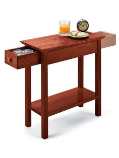 Space-saving table gives you hidden storage. Drawer opens from both ends of the table! Store the remote, writing supplies, TV schedule and more! Perfect in a family room, bedroom or hallway, the Chairside Drawer Table is an attractive, functional piece that won't crowd your home.