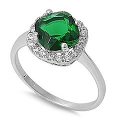 925 Sterling Silver Ring With Cubic Zirconia - Face Hight: 8 mm - Stone: Emerald CZ - Made of Sterling Silver, Rhodium Plated - http://fashion.designerjewelrygalleria.com/rings/gemstone-rings/925-sterling-silver-ring-with-cubic-zirconia-face-hight-8-mm-stone-emerald-cz-made-of-sterling-silver-rhodium-plated/
