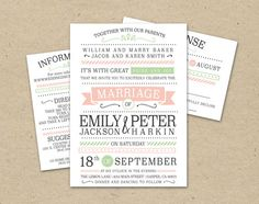 Vintage Modern Wedding Invitation and RSVP - Templates, Prints, Printed Wedding Invites (1066) on Etsy, $64.33 AUD