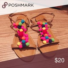NWOT Pom Pom Sandals! Completely forgot I had bought these and bought a similar pair! So so so cute! Bamboo Shoes Sandals