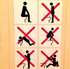 Sochi, Russia informed Olympians of Proper Toilet Etiquette, 2014 Winter Olympics, photo by Sebastien Toutant Bathroom Rules, Bathroom Humor, Bathrooms, Bathroom Stuff, Bathroom Doors, Toilet Rules, Toilet Signs, Wc Decoration, Olympic Village