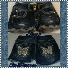 Bejeweled Shorts Size 1 Unused Excellent Condtion Lost Tag  2 pockets on Front & 2 on Back  Large Bejeweled Butterfly on Both Back Pockets No Boundaries Shorts Jean Shorts
