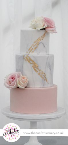 Marble and blush wedding cake with gold leaf and fresh flower decoration. Image & Cake: The Confetti Cakery.