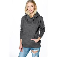 Boohoo Katie Overhead Hoody (175 NOK) ❤ liked on Polyvore featuring tops, hoodies, charcoal, baseball jerseys, long sleeve crop top, high neck hoodie, hooded pullover and basic t shirts