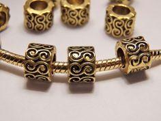 1 Barrel 5mm Gold Plated Antiqued Bead Fit European Charm Bracelet Buy5=FreeShip #PandoraStyleBead