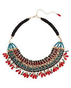 Green and Red Beaded Necklace  | New Look