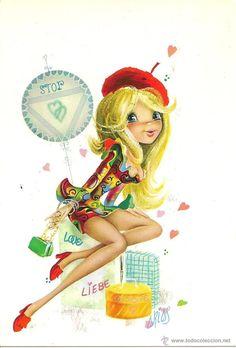 Bonita postal: Señorita. Edita CyZ. nº 7023. Deposito legal del año 1969. Dibujo Arias