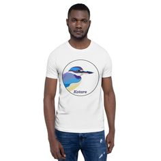 My Kotare (Sacred Kingfisher) drawing on a t-shirt for bird lovers. Kingfisher, Fabric Weights, Unisex, Cotton, Mens Tops, T Shirt, Lovers, Birds, Drawing