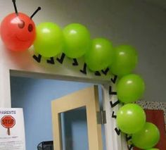 """Using balloons to create a classroom caterpillar is a creative idea. This would be great to use for """"The Very Hungry Caterpillar"""" by Eric Carle. Hungry Caterpillar Party, Caterpillar Craft, Eric Carle, Chenille, Birthday Parties, Birthday Ideas, Parties Kids, Farm Birthday, Birthday Board"""