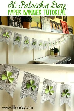 St Patricks Day Banner Tutorial- learn how to make a beautiful St. Patrick's Day banner.