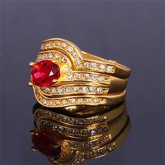 topgold hele kampen luksus tre lag diamante ring – DKK kr. 53