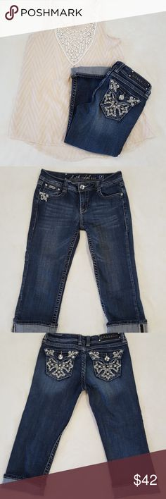 LA idol Capris Super cute LA Idol capris lots of rhinestones and Fleur de lis detail brand new condition. LA Idol Jeans