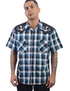 Anchors Away Plaid Button Up Western Shirt by Steady  - Teal/Black/White