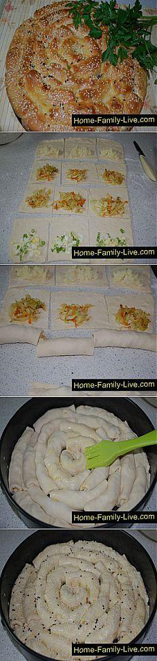 Кулинарные рецепты Пирог улитка - пошаговый фоторецепт - пирог сюрприз с разными начинками