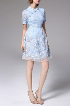 Shop snoewa light blue lace qipao dress here, find your mini dresses at dezzal, huge selection and best quality. Prom Dresses, Dresses For Work, Formal Dresses, Short Prom, Dress P, Blue Lace, Light Blue, Shopping, Fashion